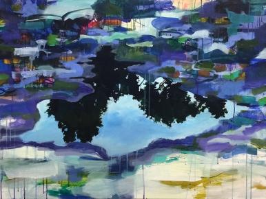 """Aube (dawn), acrylic on cavnas, 30 x 40"""" 2017"""