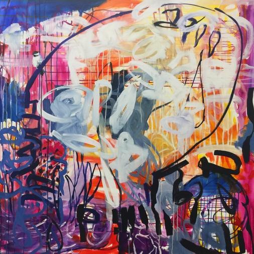 "Black-capped Chickadee, acrylic on canvas, 48x 48"" 2017"