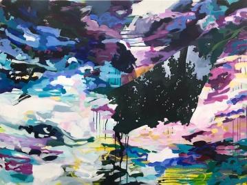 """Crépuscule (dusk), acrylic on canvas, 36 x 48"""" 2019"""
