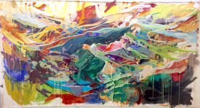 """Franklin Mountain Sky Race, acrylic on canvas, 82 x 156"""" 2018"""