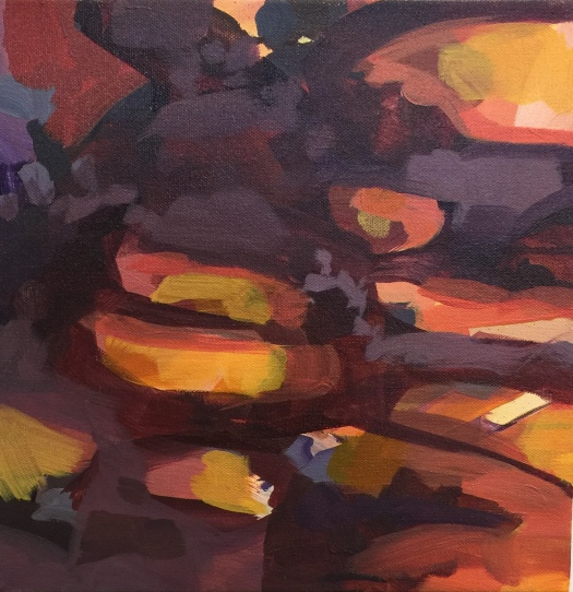 "Path Abstaction 3, acrylic on canvas, 12 x 12"" 2017"