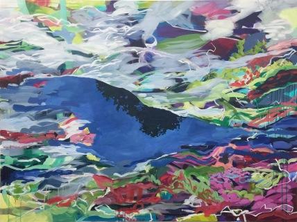 """Soir (evening), acrylic on canvas, 48 x 56"""" 2018"""