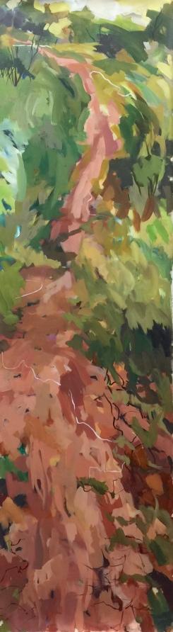 "Palo Duro Trail, acrylic on canvas, 24 x 82"" 2018"