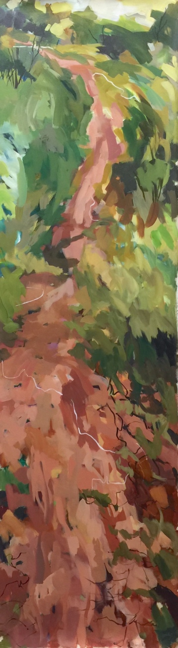 "Red soil lined with green, acrylic on un-stretched canvas, 82 x 24"" 2018"