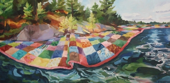 "Quilted Lake, oil on canvas, 24 x 48"" 2014"