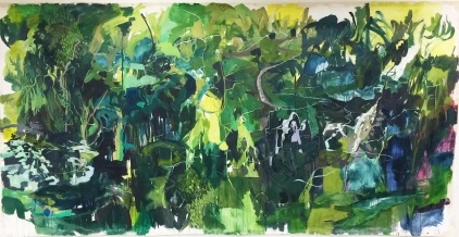 "Trail Run, acrylic on canvas, 82 x 156"" 2017"