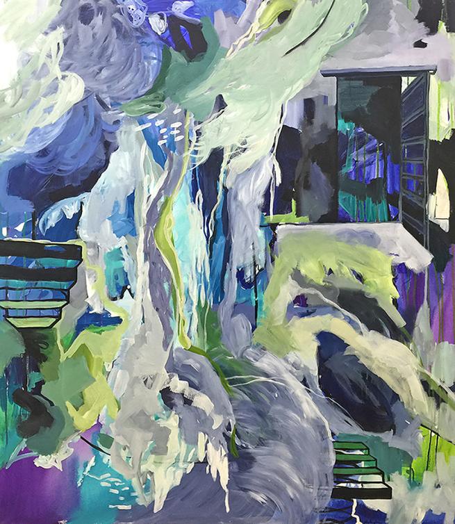 "Undertow, acrylic on canvas, 36 x 48"" 2017"