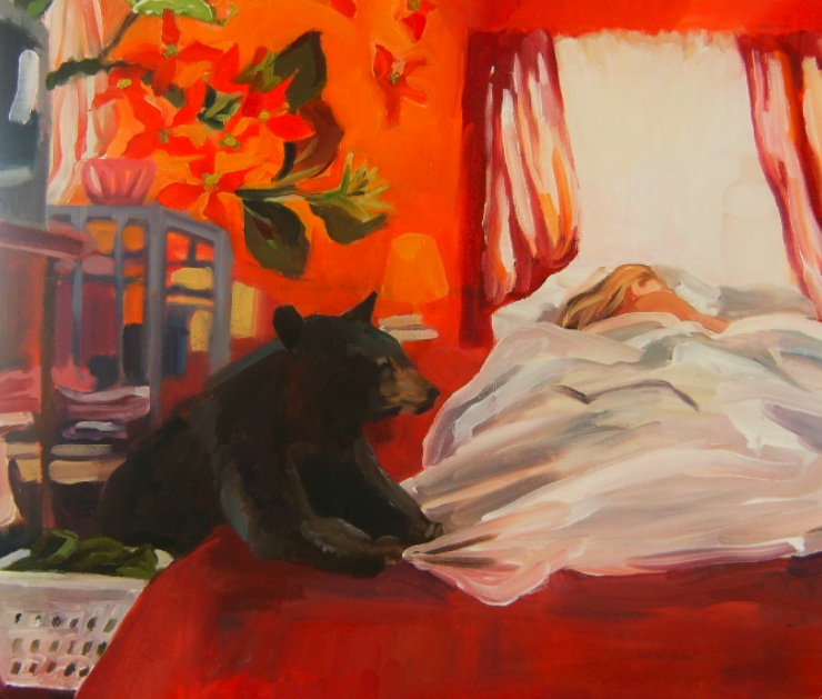 oil painting of bear and bed