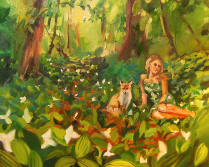 oil painting of a girl and a fox in the woods