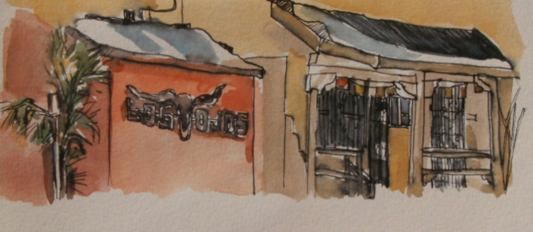 painting of los ojos bar in jemez springs, nm
