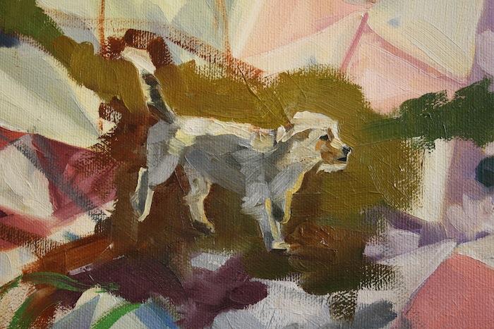 Desert Dog (in progress detail), oil/canvas
