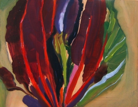oil on masonite painting of swiss chard