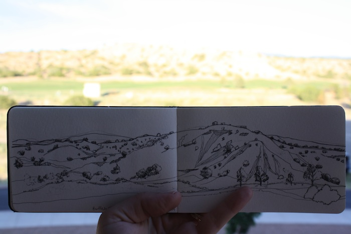 Balcony View, ink in sketchbook