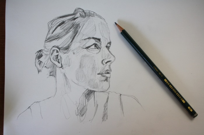 graphite self portrait drawing