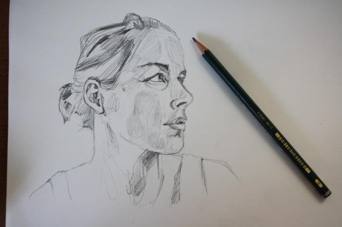 graphite self portrait drawing