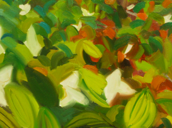 Jessie Dodington oil painting detail of underbrush
