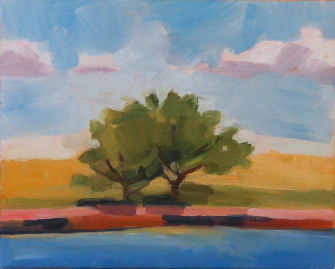 oil painting of trees at oasis state park, new mexico