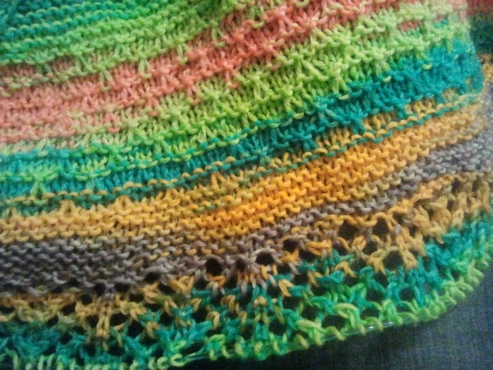 Detail of the Happy Happy Shawl in progress