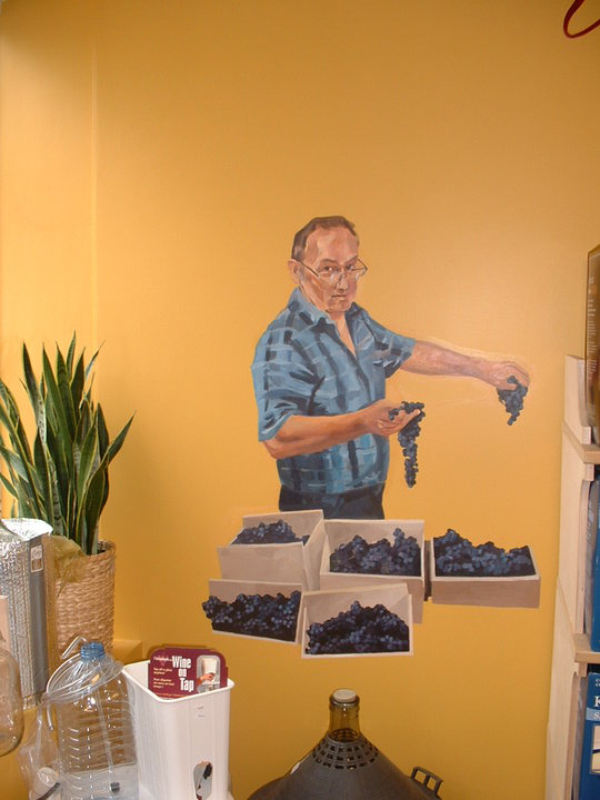 painting of store owner