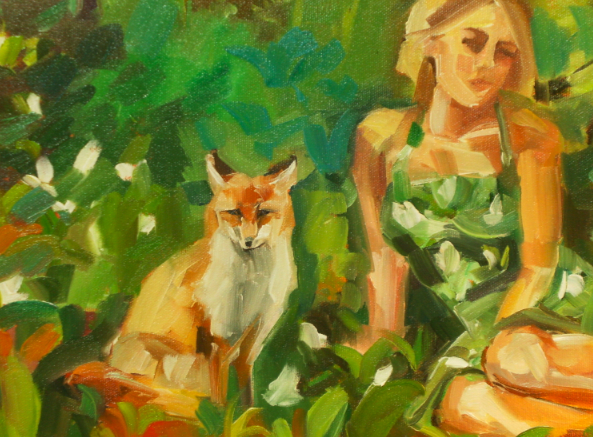 oil painting detail jessie dodington and fox in forest