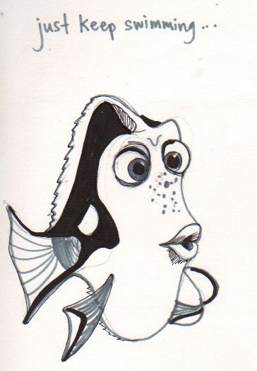 drawing of dori from finding nemo pen ink marker