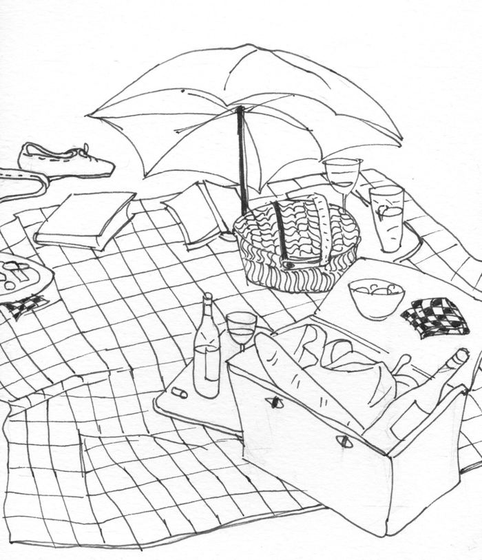 ink drawing of picnic