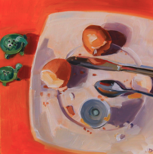 oil painting of soft-boiled eggs, plate, cutlery and turtle salt and pepper shakers