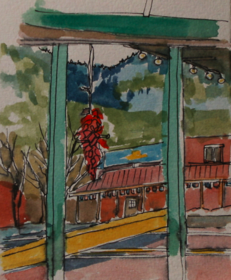 watercolour painting of view in jemez springs, nm