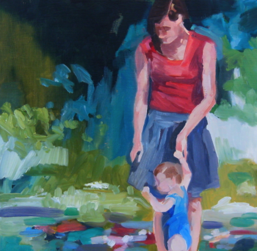 oil painting of mother and child in nature