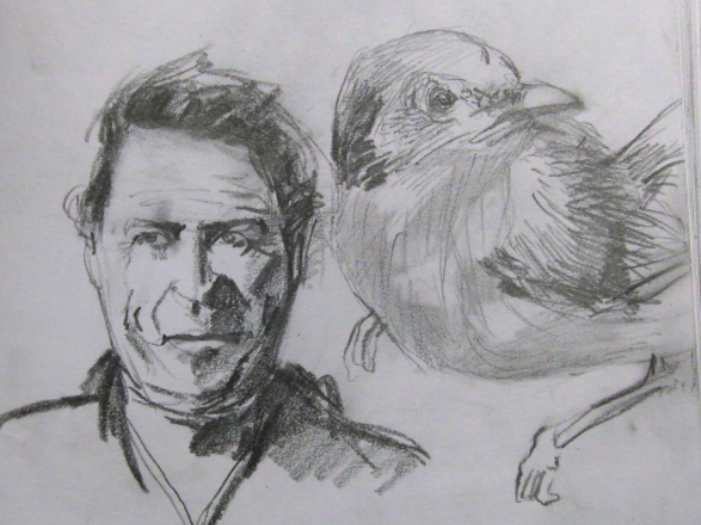 graphite drawing of man with bird