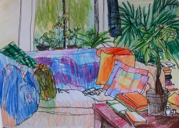 drawing of couch and plants