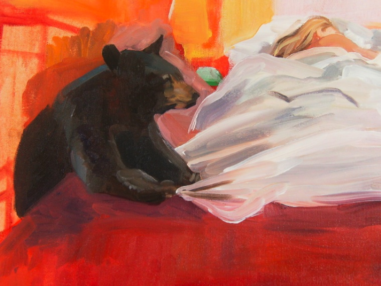 oil painting of bear near bed