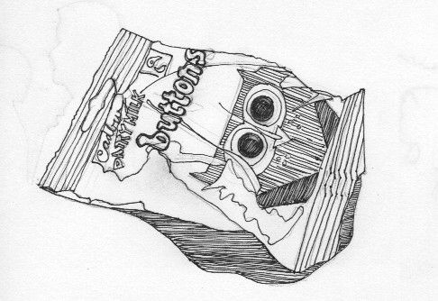 ink drawing of cadbury buttons chocolate wrapper