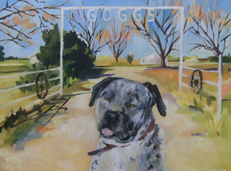 oil on canvas painting of a dog and ranch new mexico