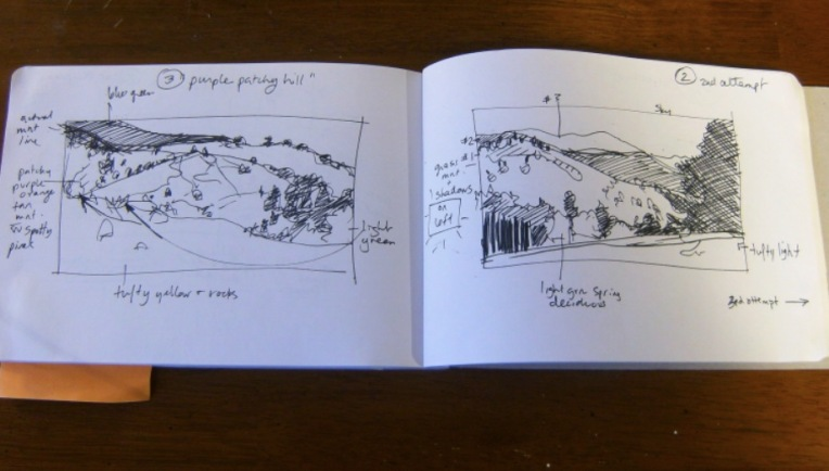 sketchbook thumbnails of large landscape painting