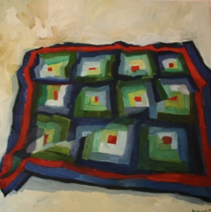 Log Cabin Quilt, oil/canvas, 20 x 20""
