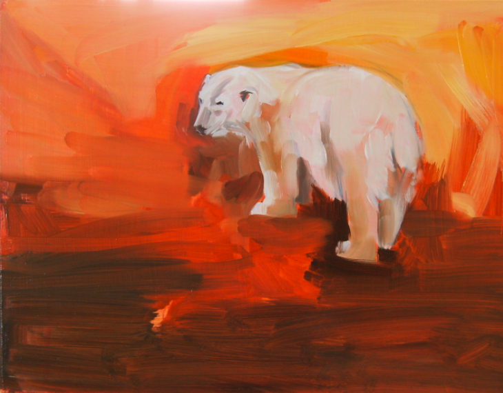 oil on masonite painting of a polar bear in orange
