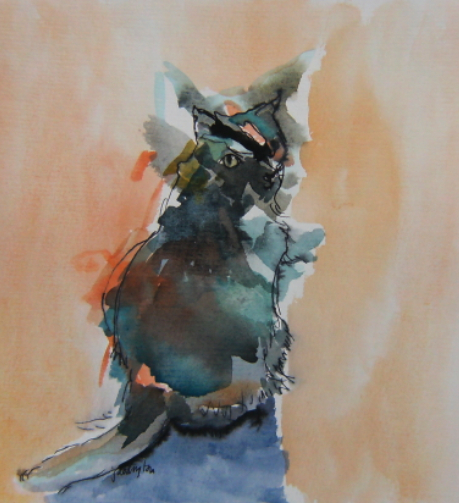 watercolour painting of cat