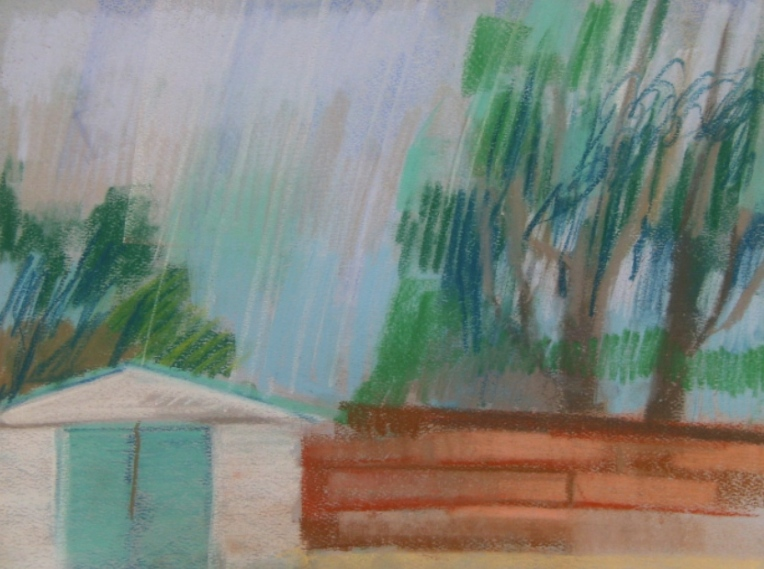 pastel drawing of rain over a shed and fence