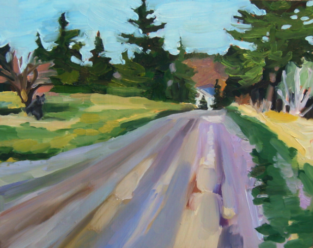 oil painting of country road and bear