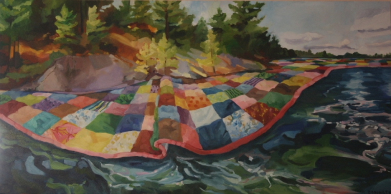 Quilted Lake, oil/canvas, 24 x 48""