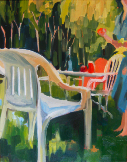 oil painting of deck chair sunny yard