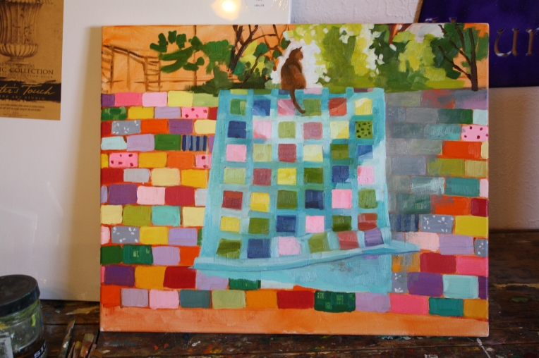 Cat on a Quilt on a Wall, in progress 2
