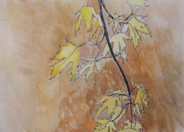 watercolour of yellow leaves