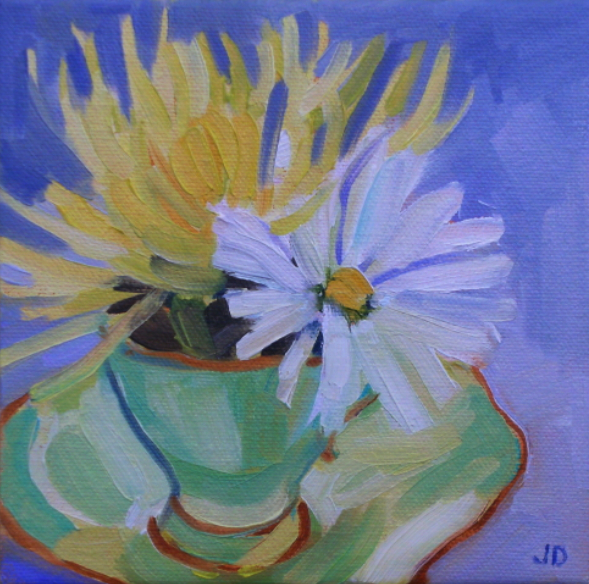 oil painting of flowers in a tea cup