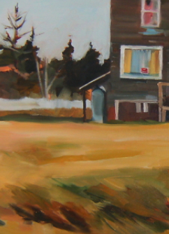 section oil painting of house and bear