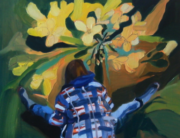 Oil on mansonite painting of girl bent over flowers
