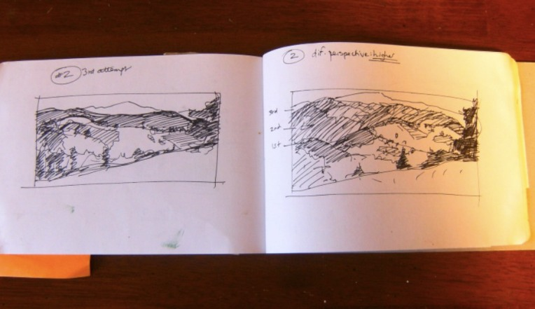 sketchbook thumbnails of landscape painting