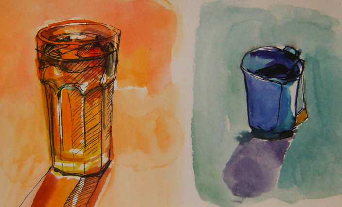 watercolour and ink drawing and painting of tea in sketchbook