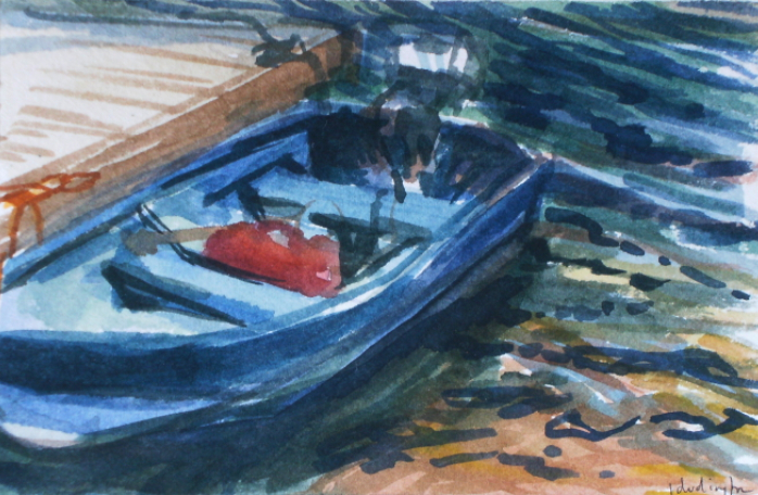 watercolour painting of a motor boat